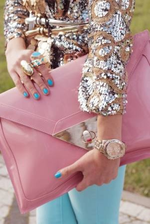 shimmer + turquoise + a very large pink clutch - bold