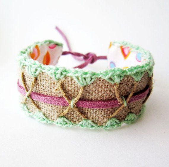 Pastel bracelet cuff  Crochet Pistachio and Purple by Akamatra, $17.00