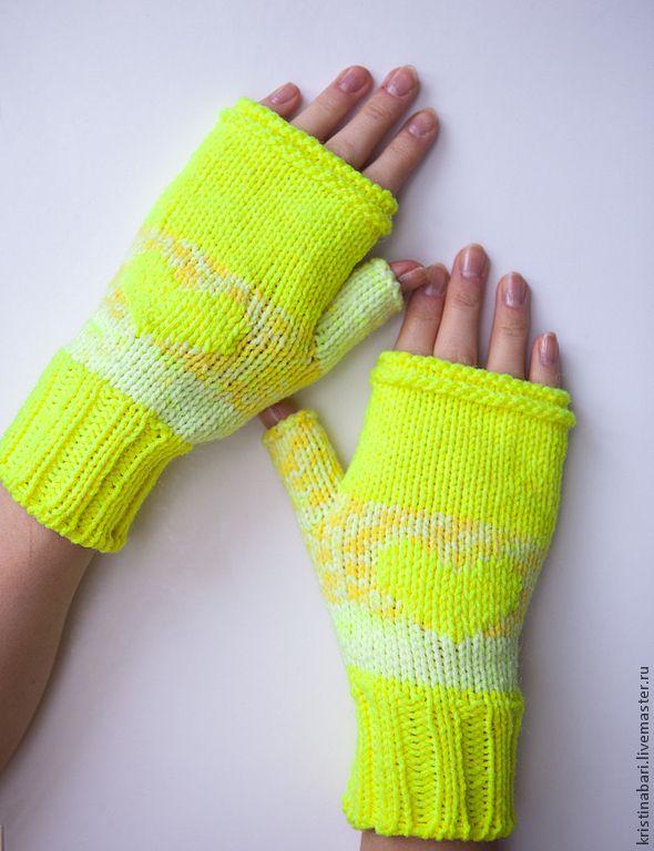 """Купить Весенние митенки вязаные """"Солнечный свет"""" - митенки, митенки вязаные, желтые, подарок девушке"""