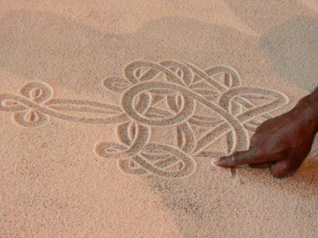 Traditional sand drawing.