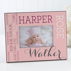 LOVE this adorable baby gift idea! It's a personalized baby picture frame you can customize with all of the baby's birth info and it comes in a bunch of color options for boys and girls! This will look so pretty in the nursery!