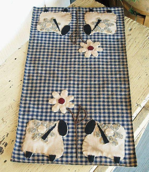 Primitive Sheep Penny Rug Blue Fabric Flower by kimberleeannPrims, $19.99
