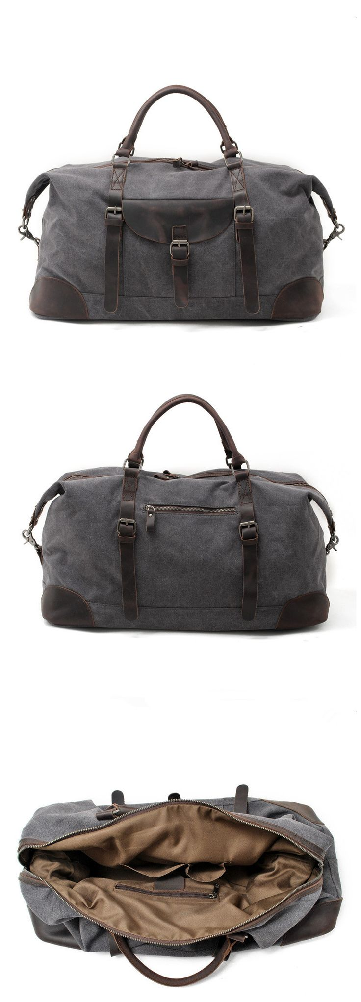 Waxed Canvas Travel Duffle Bag Holdall Luggage Overnight Bag We use selected thick genuine cow leather, quality canvas material, anti-rust hardware and nylon fabric to make the bag as good as it is. T