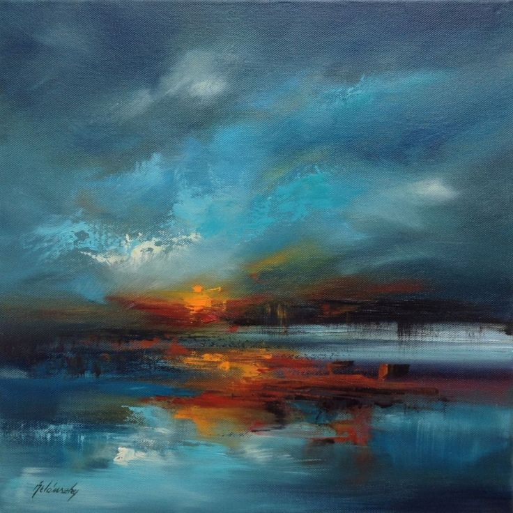 Stormy Lake - 40 x 40 cm, abstract landscape oil painting, blue, red, turquoise, orange (2016) Oil painting by Beata Belanszky Demko | Artfinder