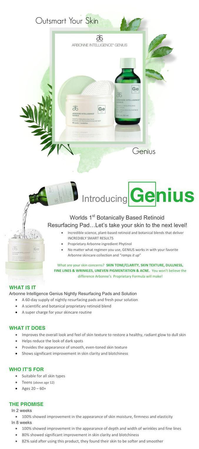 Get in on this new skin care revolution! Genius is a new patented product that will address any concerns you may have about your skin.   Use Arbonne ID #13561976 to place your order or email Lauren.duel@gmail.com