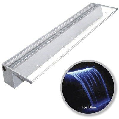 """Colorfall with LED Size: 36"""", Color: Ice Blue by Atlantic Water Gardens. $263.99. 1-1/4 inch FPT inlet. 36 inch Colorfalls with Blue LED. Unique Waterfall Feature. Required flow 3000 GPH. CF36B Size: 36"""", Color: Ice Blue Features: -5"""" Lip extension.-Inlet: 1.25"""" FIPT.-30 ft power cord.-Max flow rate: 1000 GPH - 3000 GPH. Specifications: -12 Volt outdoor transformer."""