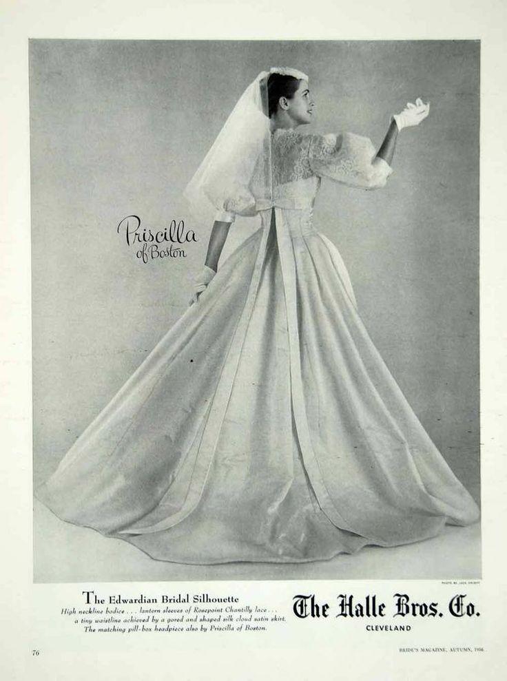 1956 Ad Vintage Priscilla of Boston Wedding Dress Bride Bridal Gown Fashion