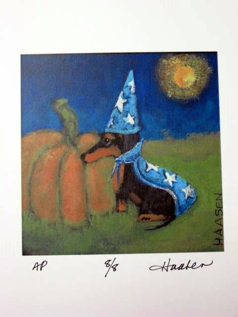 HALLOWEEN DACHSHUND DOG WIZARD WITH PUMPKIN by LittleEllensArt on Etsy | Original signed print on quality card stock in fade resistant quality inks. From an original painting by by Southwestern Ontario artist Ellen Haasen. She has works in a variety of media, as well as canvas and prints in a number of Ontario collections and beyond.
