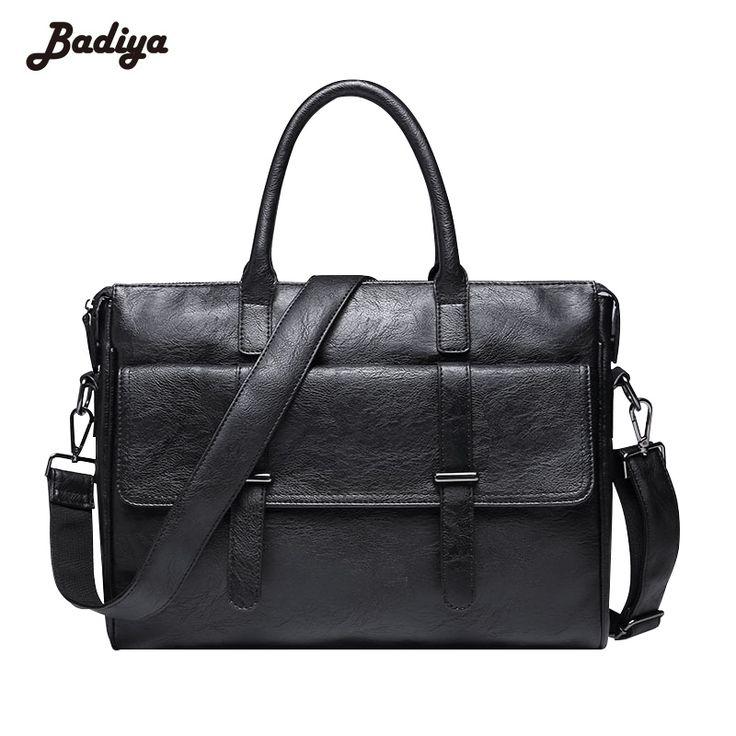 Vintage Men PU Leather Handbag Briefcase Travel Sac Large Capacity Shoulder Bag Business Male Horizontal Black Laptop Tote Bags