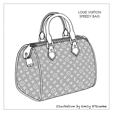 LOUIS VUITTON - SPEEDY BAG - Designer Handbag Illustration / Sketch / Drawing / CAD / Borsa Disegno / Product Design / Illustrazioni Borse /  styliste sac à main