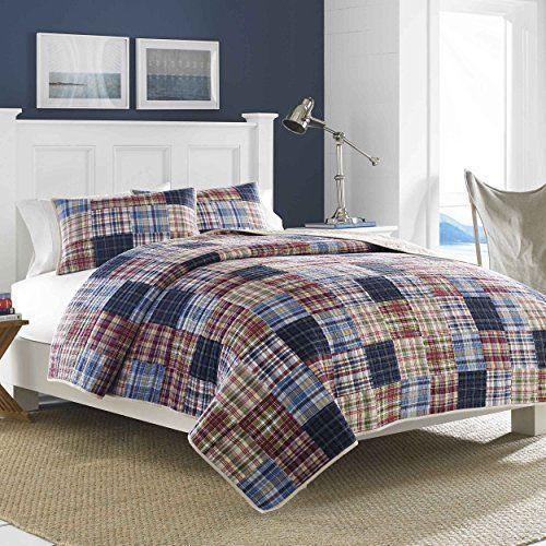 100% Cotton Quilt Full Queen Blue Red Bedspread Coverlet Pillowcase Coordinate 2 #Nautica #Country