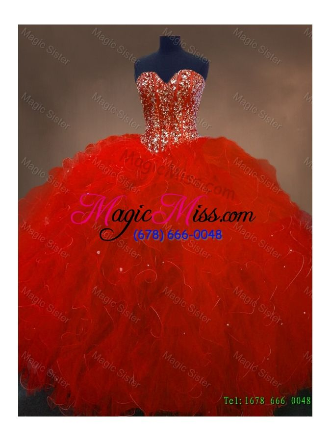 Pretty Red Sweetheart Quinceanera Gowns with Ruffles and Beading - US$288.45