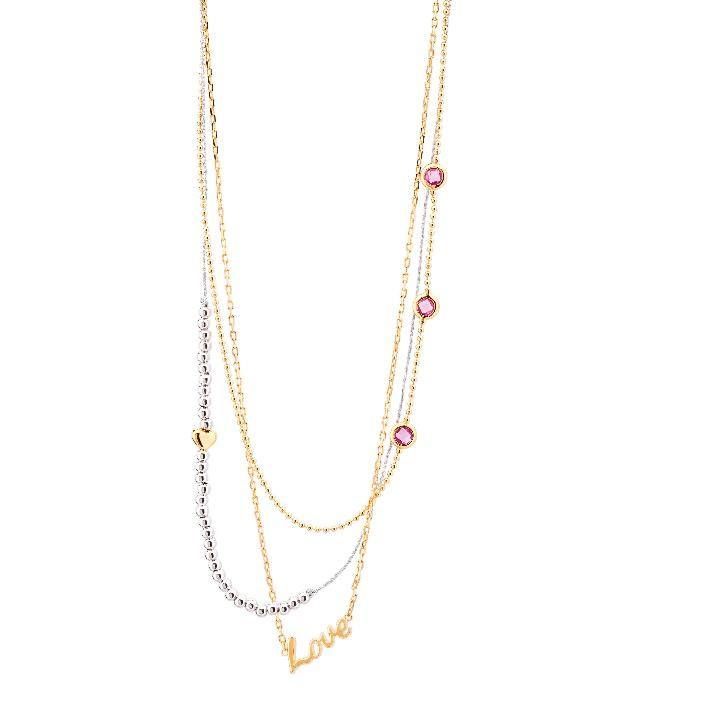 Love You Three Times Necklace - 42cm necklace with 3 combined chains and a LOVE mofit, golden heart, and pink gemstones - Stainless Steel with Gold Plating. $150.00