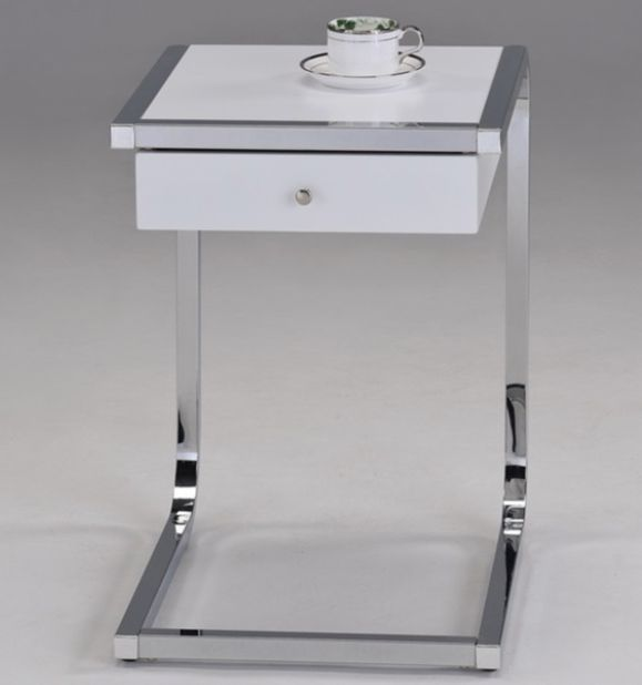 White Finish & Chrome Chairside End Table With Drawer
