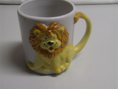 Vintage Novelty Childrens Kid Lion Animal Coffee Mug Cup Taiwan