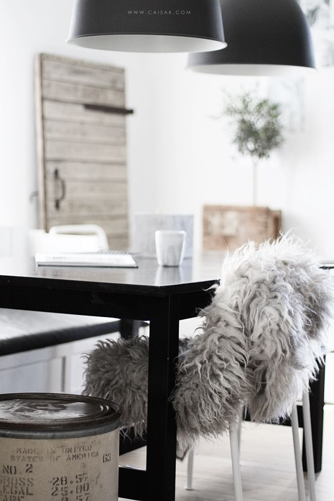 pendant lamps, sheepskin chair //
