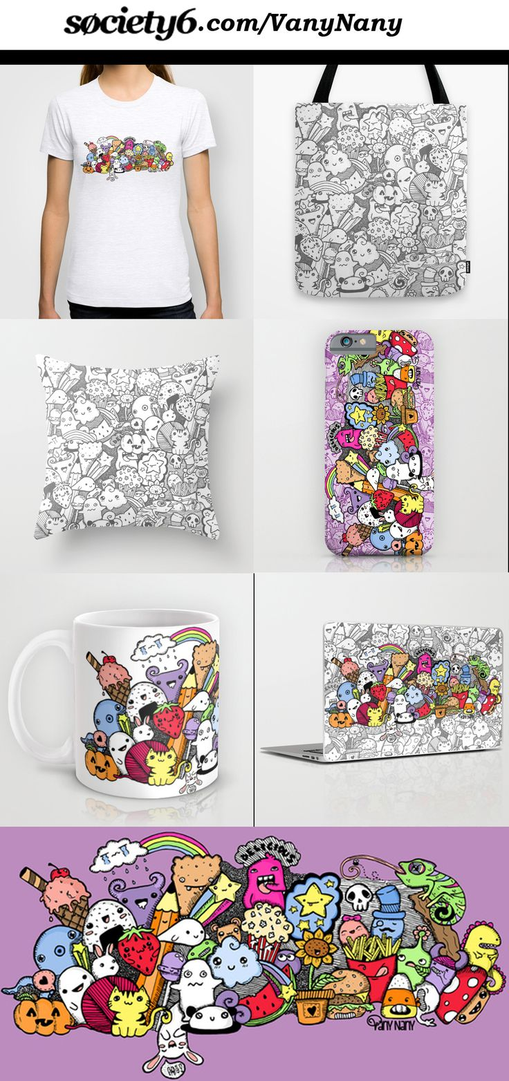 #Doodle #Desing on Society6.com! Follow me on Facebook and Twitter (@vanynanydesigns)  ________________ #kawaii #cute #monsters #watermelon #icecream #panda #rabbit