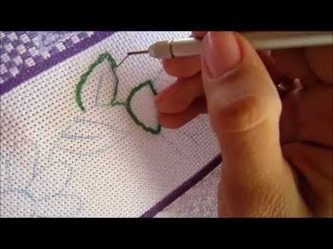 Russian punchneedle embroidery - part II -- first contour - YouTube