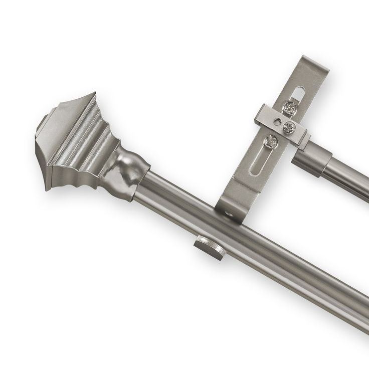 Adjustable Double Curtain Rod Set With Pewter Square Finial   Overstock™  Shopping   Great Deals