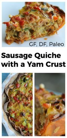 """Sausage Quiche with a Yam Crust: The yam crust makes this quiche come together quickly and it ends up being significantly lighter than using a pastry crust. The filling is hearty and satisfying and best made with farm fresh pasture raised eggs, organic produce, and meat from a local butcher. This Sausage Quiche with a Yam crust is one of our favorite """"breakfast dinners"""". During the season of Lent (a"""