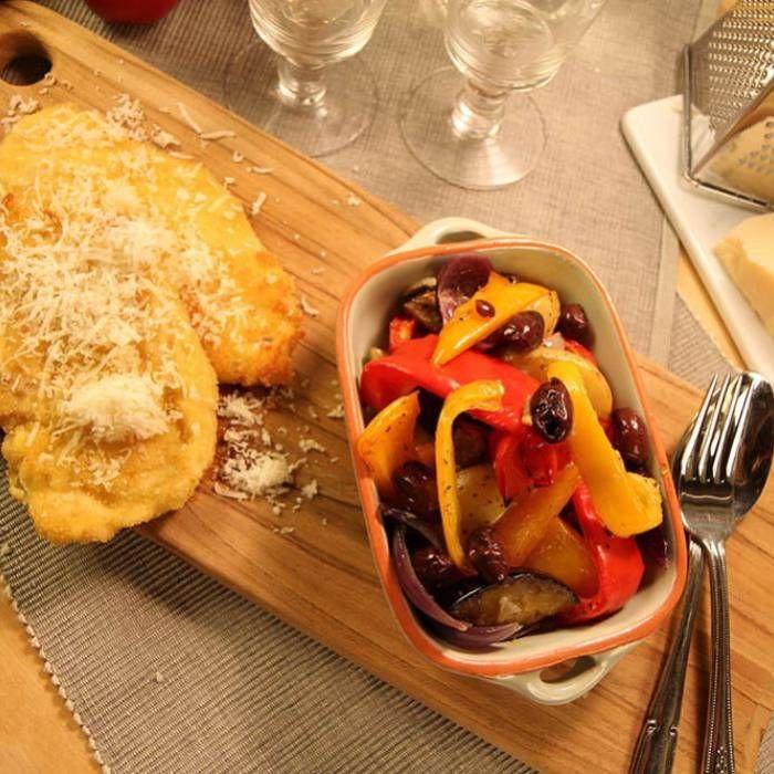 Parmesankyckling med rostade grönsaker