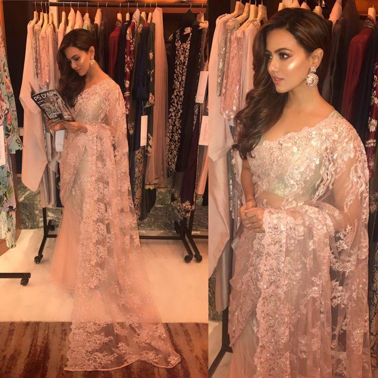 Sana khan Lace saree, Bridal dresses, Saree designs