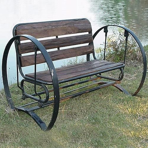 Iron Horse Glider Bench With Ancient Teak And Rustic Iron