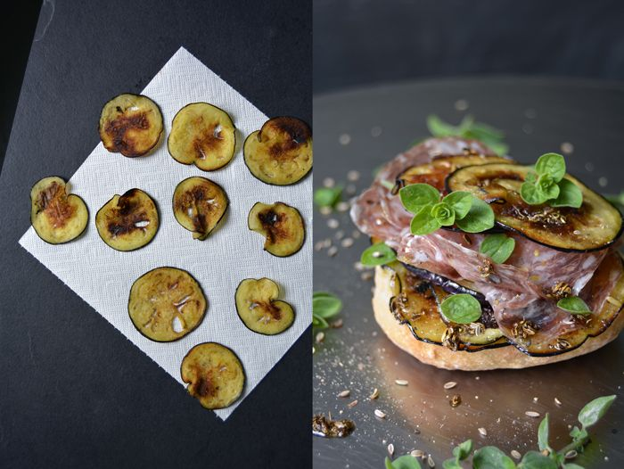 Sautéed Aubergine and Salami Sandwich with Fennel Oil and fresh Oregano : eat in my kitchen