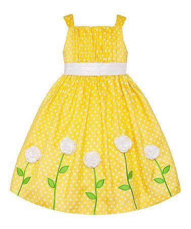 Love this Yellow & White Polka Dot Rosette Dress - Girls on #zulily! #zulilyfinds