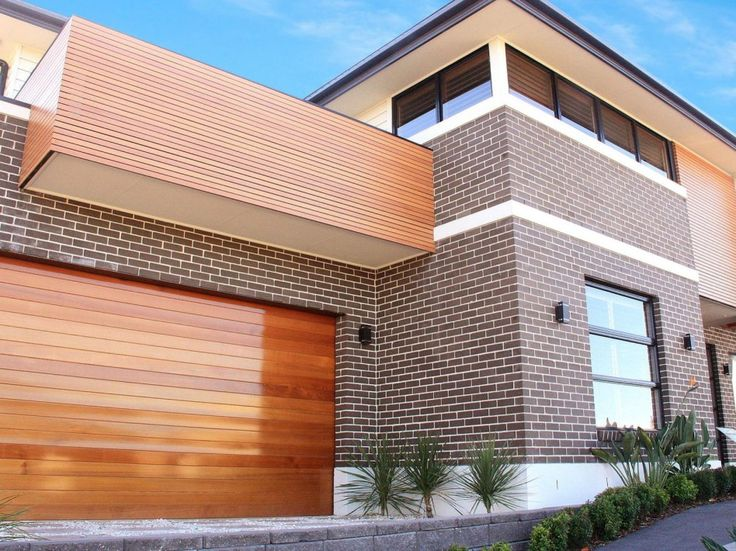 Exterior captivating home exterior and architecture - Brick and wood house ...