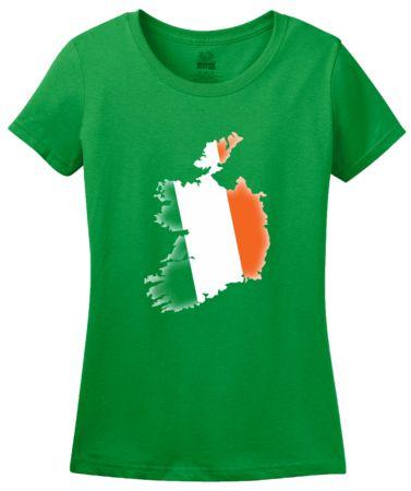 Green Ireland Flag Map   Women's T-Shirt #annarbortees #stpatricksday #irish #shirts #womens