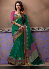 Green Color Cotton Casual Party Sarees : Riyal Collection  YF-41739