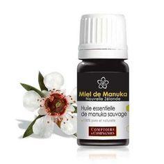 L'huile essentielle de manuka, 20 à 30 fois plus puissante que l'HE de tea tree. Elle est utilisée en aromathérapie pour ses bienfaits antiseptiques