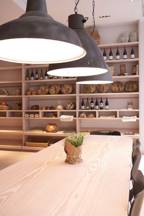 pendants and shelving  Cuisine de Bar by Poilane, London: Kitchens Interiors, Shelves Cuisine, Wine Shelves, Open Shelves, Kitchens Design, Interiors Design, Kitchen, Pendants Lights, De Bar