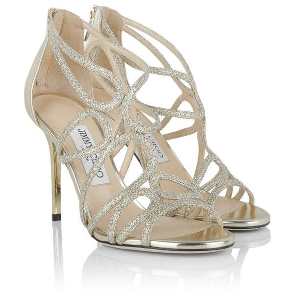 Jimmy Choo Sandals, Layla Lame Glitter Mirror Sandals GoldGold Shoe ($885) ❤ liked on Polyvore featuring shoes, sandals, gold, strappy shoes, glitter stilettos, strap sandals, metallic sandals and stilettos shoes