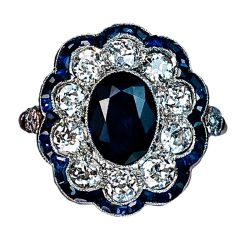 Antique Sapphire Diamond Cluster Ring
