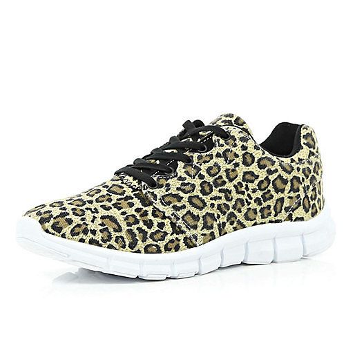 Brown leopard print trainers