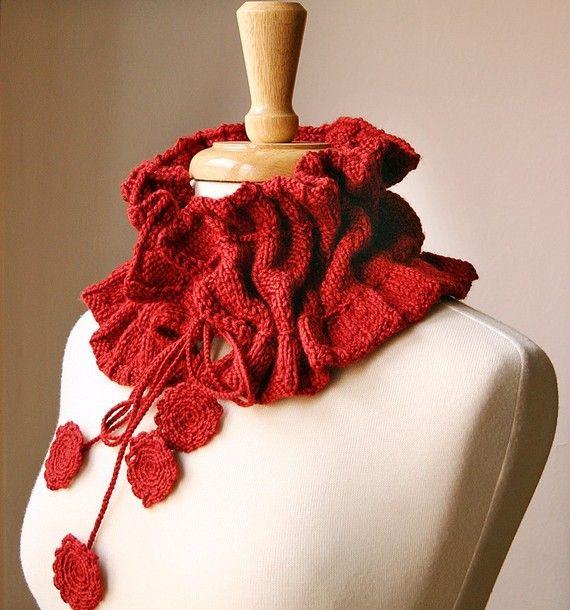Scarf Knitting Pattern - Victoriana Scarflette - Romantic Ruffle Scarf - Design  by Elena Rosenberg