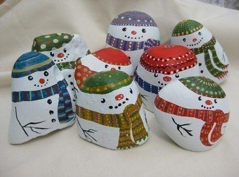 cute snowmen painted rocks