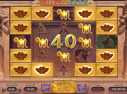 Игровой автомат Valley of the Gods – играть на деньги  Тематикой игрового аппарата Valley of the Gods от компании Yggdrasil стала мифология Древнего Египта. Играя в этот автомат на деньги, вы будете получать крупные выплаты благодаря респинам и возможности активировать до 3125 линий.