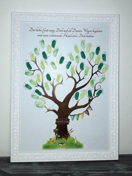 Glückwunschkarten - Fingerabdruck-Baum Kommunion Gästebuch Geschenk - ein Designerstück von Grimmling-Fingerprints bei DaWanda