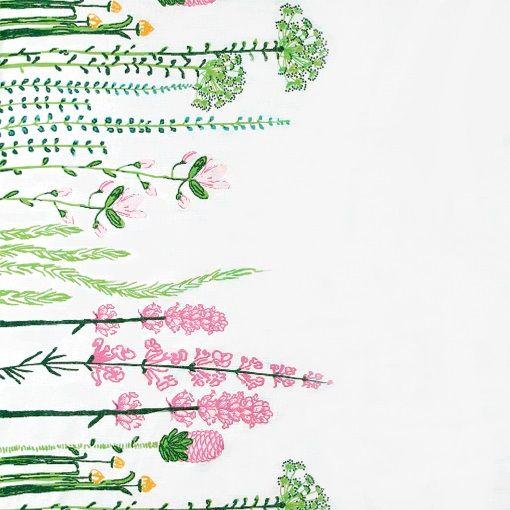 Bomuld hvid m bred blomsterbort