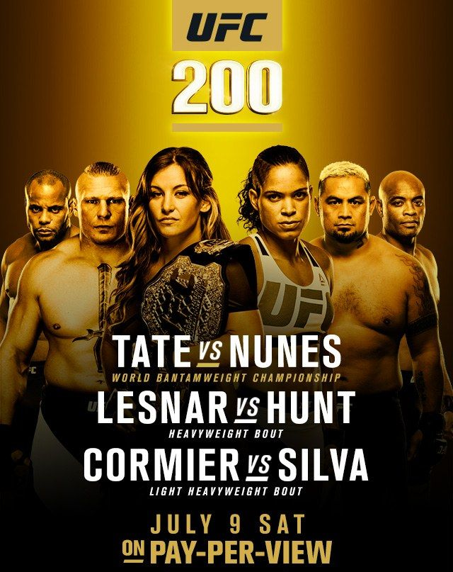 Watch UFC 200: Tate vs Nunes LIVE! for FREE!!! The card is main evented by Miesha Tate vs Amanda Nunes for the Women's Bantamweight Champion and co-main evented by the returning Brock Lesnar vs Mark Hunt! Anderson Silva also steps back into the Octagon as a last minute replacement for Jon Jones to take on the Light Heavyweight Champion Daniel Cormier in a non-tile bout.