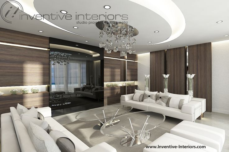 Projekt domu z widokiem Inventive Interiors - przytulny luksusowy salon - owalny sufit podwieszany z żyrandolem