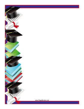 Mortarboards and diplomas are featured on this graduation themed border. Free to download and print.