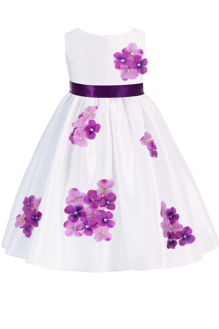 Best Purple Dimensional Gem Beaded Flowers On White Shantung 640 x 480