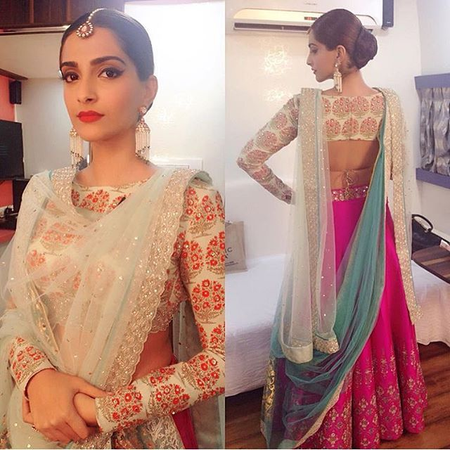 Styled by sister Rhea Kapoor, Sonam Kapoor looks stunning in an Anju Modi creation.. #Indian #Bollywood #India #Mumbai