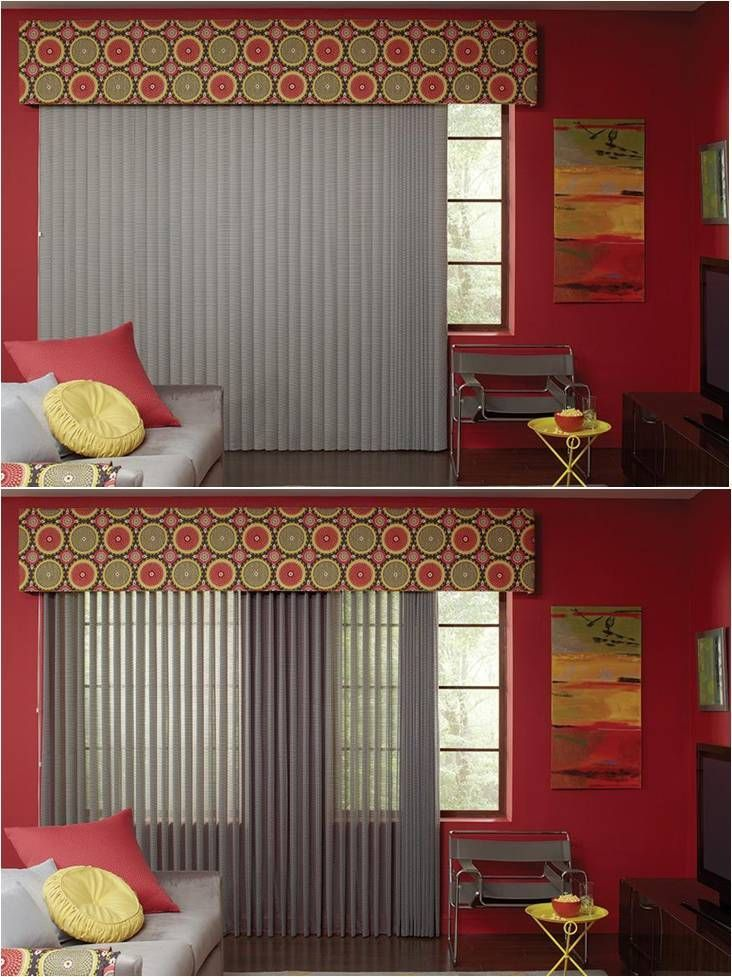 Grey Vertical Sheer Blinds by Lafayette. This combination of gray sheer vertical blinds against red walls and a printed top valance really says ' window dressing '. The dark hardwood floors, artwork,yellow table, throw pillows and different shades of gray chairs work together to create a warm, interesting living room.