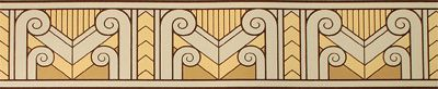 Inspiration for the wall treatment in the hall bath.  This is purely Art Deco to go with the lighting we have in the house.  This pattern would need to be enlarged a bit to fit the space and the colors would need to be adjusted.