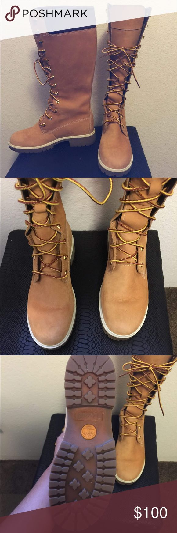 WOMEN'S 14-IN.Timberland ZIP LACE WATERPROOF BOOTS Size: 7.5 women's knee high Timberland Boots!  Condition: Execellent  Asking Price:$110 Retail Price: $200-$250  Bought these for $250 in Atlanta almost 5 years ago!!!! From the photos, you can see I've taken VERY GOOD care of these bad boys! No salt marks from snow and very little scuff marks! Only would wear them for special occasions and always cleaned/ sprayed protectant on them! These boots are exclusive and can no longer be purchased…